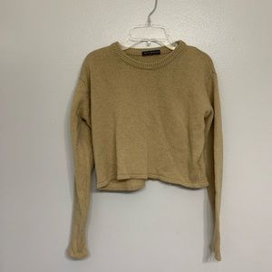 Brandy Melville long sleeve tan crop top